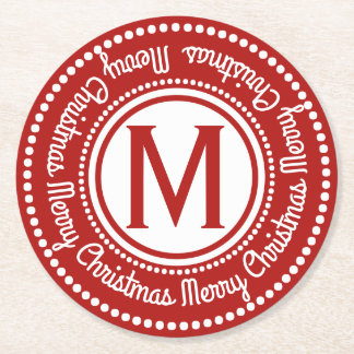 Merry Christmas Red & White Holiday Monogram Round Paper Coaster