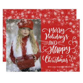 Merry Christmas red white snow script photo Card