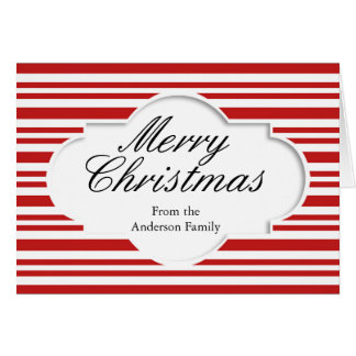 Merry Christmas Red White Stripes Personlized Card
