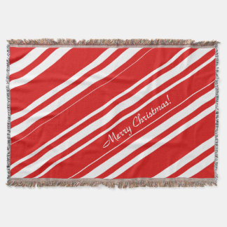 Merry Christmas Red White Stripes Throw Blanket