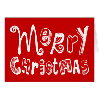 Merry Christmas Red White Text Design Greeting Card