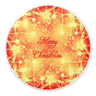 Merry Christmas Red Yellow Stars Streamers Ceramic Knob