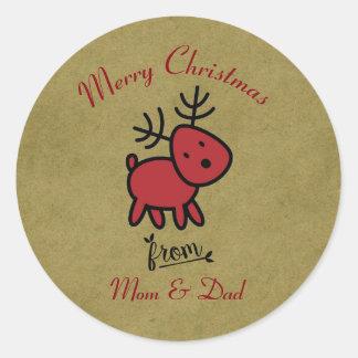 Merry Christmas Reindeer Cartoon Classic Round Sticker