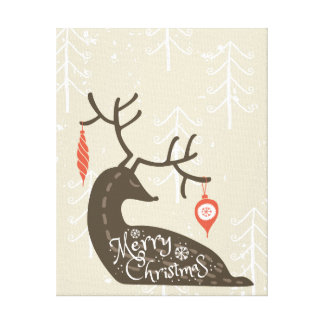 Merry Christmas Reindeer Cozy Canvas Print