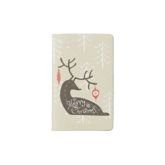 Merry Christmas Reindeer Cozy Pocket Moleskine Notebook