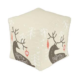 Merry Christmas Reindeer Cozy Pouf