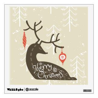 Merry Christmas Reindeer Cozy Wall Decal