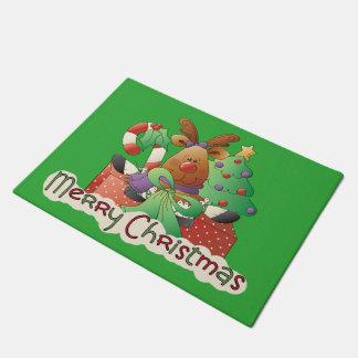 Merry Christmas reindeer Holiday door mat