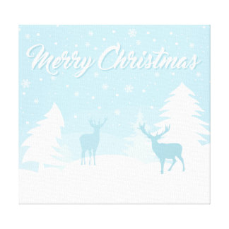Merry Christmas Reindeer in a Snowy Forest Canvas Print