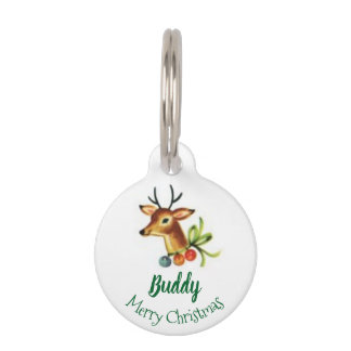 Merry Christmas Reindeer Pet Name ID Phone Number Pet ID Tag
