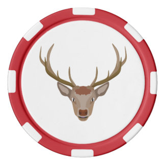 Merry Christmas Reindeer Set Of Poker Chips