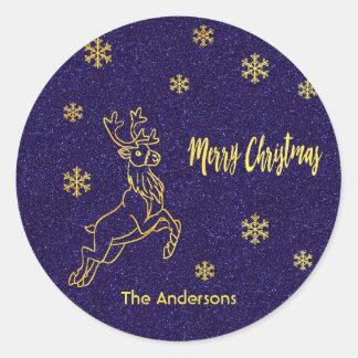Merry Christmas reindeer snow blue glitter gold Classic Round Sticker