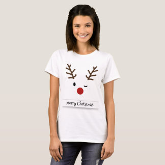 Merry Christmas Reindeer Wink Women's T-Shirt