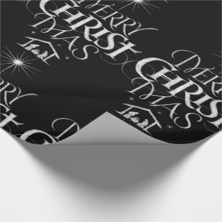 Merry Christmas Religious Calligraphy Chalkboard Wrapping Paper