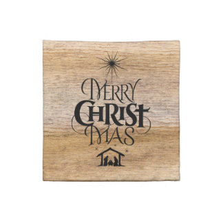 Merry Christmas Religious Calligraphy Rustic Wood Napkin