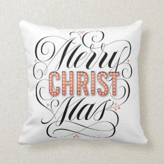 Merry CHRISTmas Religious Marquee Calligraphy Throw Pillow