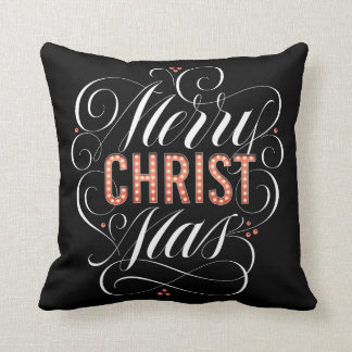 Merry CHRISTmas Religious Red Marquee Calligraphy Throw Pillow