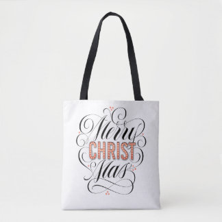 Merry CHRISTmas Religious Red Marquee Calligraphy Tote Bag