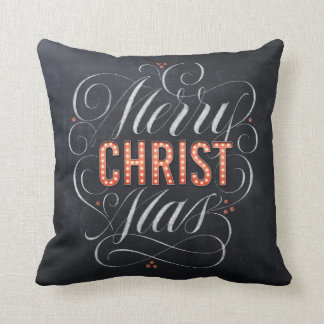 Merry CHRISTmas Religious Red Marquee Chalkboard Throw Pillow