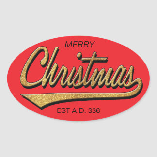 Merry Christmas Retro Stickers OVAL