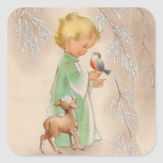 Merry Christmas | Retro Winter Child With Friends Square Sticker