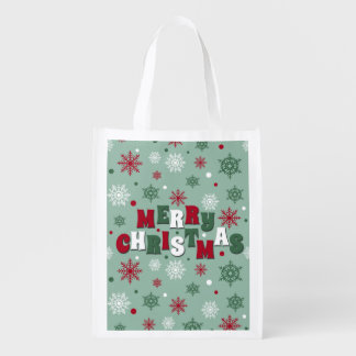 Merry Christmas Reusable Grocery Bag