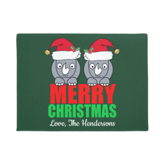 Merry Christmas Rhino Cute Custom Doormat