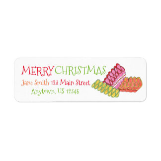 Merry Christmas Ribbon Candy Holiday Address Label