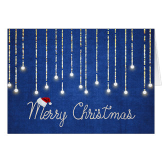 Merry Christmas rope design with lights on blue Card