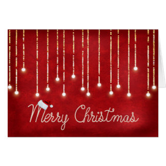 Merry Christmas rope design with lights on red Card