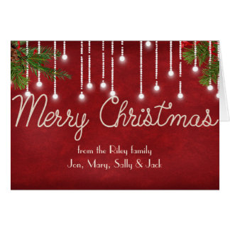 Merry Christmas rope design with pine and lights Card