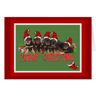 Merry Christmas Rottweiler Puppies Greeting Card