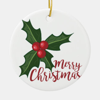 Merry Christmas Round Ceramic Ornament