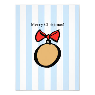 Merry Christmas Round Gold Ornament Invitation