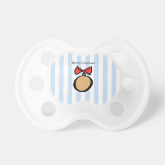 Merry Christmas Round Gold Ornament Pacifier Blue