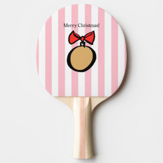 Merry Christmas Round Ornament Ping Pong Paddle