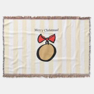 Merry Christmas Round Ornament Throw Blanket Yello