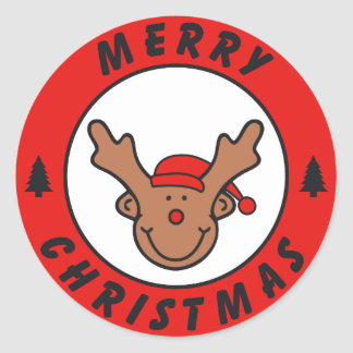 Merry Christmas Rudolf annuitant with tree Classic Round Sticker