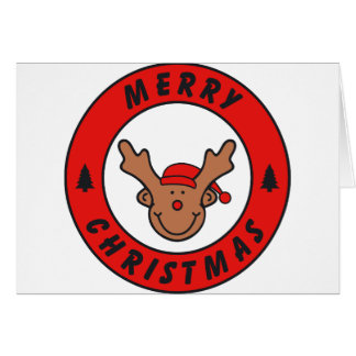 Merry Christmas Rudolf annuitant with tree Greeting Card