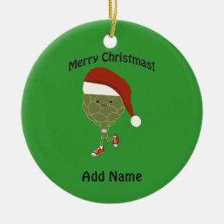 Merry Christmas! Running Artichoke Ceramic Ornament