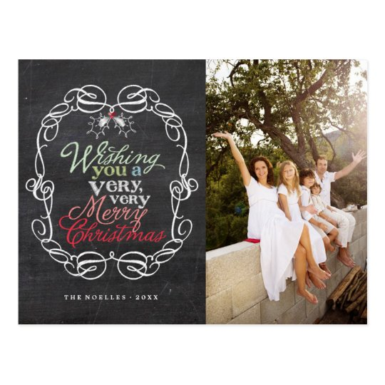 Merry Christmas Rustic Chalkboard Holiday Postcard