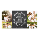 Merry Christmas Rustic Chalkboard Mistletoes Card Photo Cards