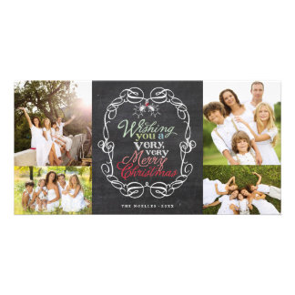 Merry Christmas Rustic Chalkboard Mistletoes Photo Photo Card