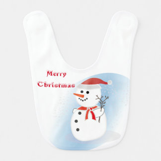 Merry Christmas rustic cute snowman baby bib