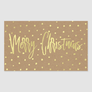 Merry Christmas Rustic Gold Sticker