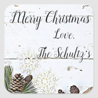 Merry Christmas Rustic Wood Snowflakes Stickers