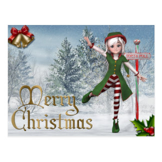 Merry Christmas Sadie Elf Postcard