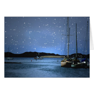 Merry Christmas Sailboats with Snow in Harbor Card