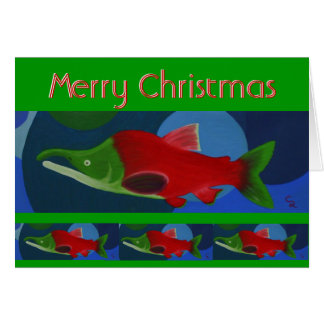 Merry Christmas Salmon Card