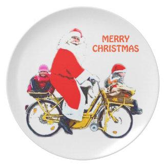 Merry Christmas Santa and Kids Plate